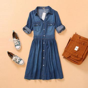 Lady denim one piece dress moda verão fina azul jeans slim denim das mulheres meia manga três quartos plus size dress