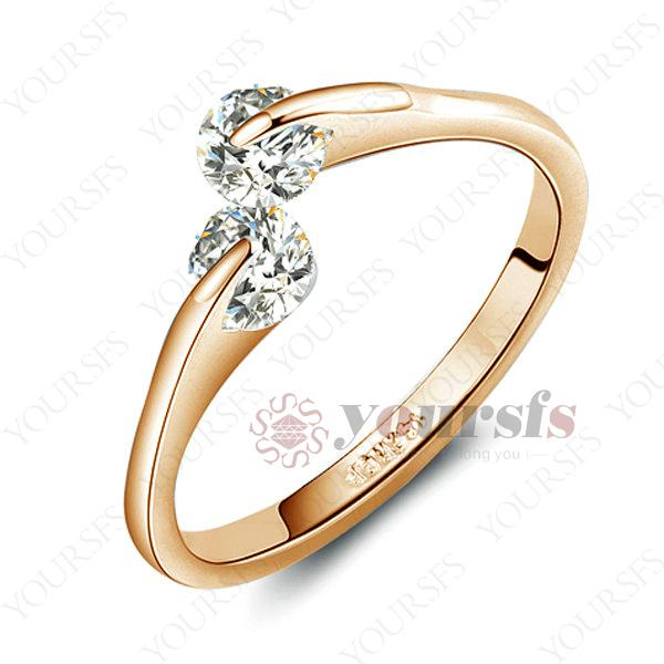Yoursfs Charming Rhodium Plated Jewelry Unique 18K Rose Gold Planted Use White Crystal Simulation of Diamond Wedding Bands for Women Jewelry