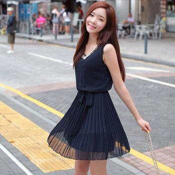 Korean Style Casual Beading Mini Chiffon Pleated Summer Dresses For Women 2013 New Clothes N3076