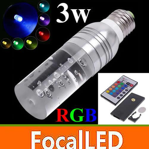 10 pz / lotto RGB 16 colori Crystal led lampadina E27 3W AC 85-265V LED Light Bulb + 24 tasti di controllo remoto
