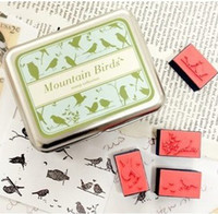 Wholesale Wholesale Wooden Animals Stamps - Wooden mountain birds desgin vintage Antique Stamps seal diary carved gift c