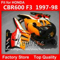 Wholesale 1998 honda f3 plastics resale online - Free gifts ABS Plastic fairing kit for Honda CBR600 CBR F3 fairings G1C new high grade orange black motorcycle parts