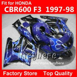 Wholesale Honda F3 Plastics - Free 7 gifts ABS Plastic fairing kit for Honda CBR 600 97 98 CBR600 1997 1998 F3 fairings G4C new high grade flames blue motorcycle parts