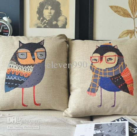 Ikea Literary Cute Owl Painted Cotton Cushion Pillow Car