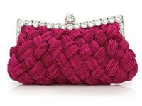 bolso de noche rosa roja al por mayor-¡productos de calidad! Nuevo Estilo Multicolor Color Negro Rose Red Weave Accesorios de la boda Bolsos de mano nupciales Bolsos del partido Noche Bolsos HB001