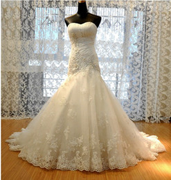 Wholesale Straight Strapless Wedding Dress - 2012 New Wedding Dress Tulle Strapless Straight Neckline Lace Empire Bow Beaded Mermaid Bridal Gown