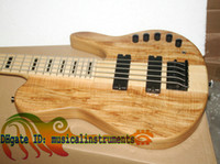 Wholesale One Piece Basses - Custom 5 Strings Electric Bass Guitar one piece wood NEW very nice Electric BASS OEM Guitar High power electronic amplification