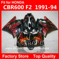 Wholesale Honda Parts For Sale - Free 7 gifts fairing kit for Honda CBR 600 91 92 93 94 CBR600 1991 1992 1993 1994 F2 fairings G4C hot sale red flames black motorcycle parts