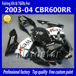 honda cbr fairings west NZ - 7Gifts fairings kit for HONDA CBR600RR F5 2003 2004 CBR 600 RR 03 04 CBR600 600RR black white West fairing set kk3