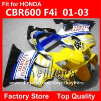 f4i обвес оптовых-Бесплатный 7 подарки пользовательские гонка обтекатель комплект для Honda 2001 2002 2003 CBR600 ЦБ РФ 600 F4I 01 02 03 обтекатели G1e желтый черный мотоцикл тела работы