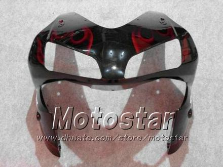 Carnacios bodykit para Honda CBR600RR F5 2003 2004 CBR 600 RR 03 04 CBR600 600RR Llama roja en conjunto de carenado negro KK13