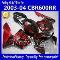 черное красное пламя оптовых-Обтекатели bodykit для HONDA CBR600RR F5 2003 2004 CBR 600 RR 03 04 CBR600 600RR красное пламя в черный обтекатель kk13
