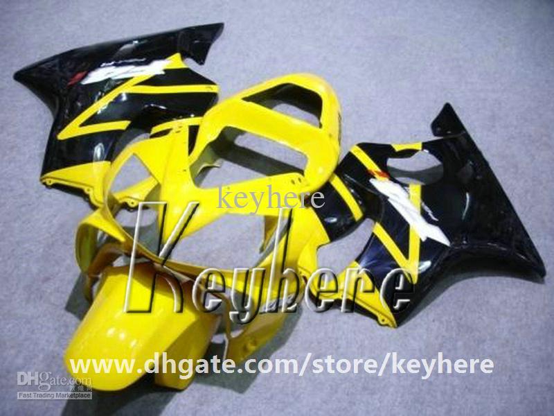 Free 7 gifts Custom race fairing kit for Honda CBR600 2001 2002 2003 CBR 600 01 02 03 F4I fairings G2e yellow black motorcycle body work