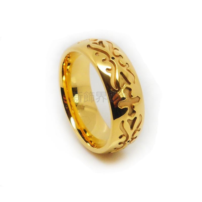 New Decoration Sector Tungsten Gold Ring Vintage European And