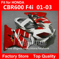 Wholesale Honda F4i Parts - Free 7 gifts Custom race fairing kit for Honda CBR-600 2001 2002 2003 CBR600 CBRF4I 01 02 03 F4I fairings G4f NEW red white motorcycle parts