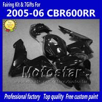 ingrosso kit corporeo motociclette honda-7 Kit carrozzeria carene regalo per HONDA CBR600RR F5 2005 2006 CBR 600 RR 05 06 Carena moto nero lucido CBR600 600RR kk21