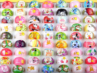 Wholesale Assorted Mixed Fashion Jewelry - Jewelry Ring Mixed Lots 200pcs Cute Resin Lucite Cartoon Children Rings Ring Fashion Jewelry Assorted Rings [KR07*200]