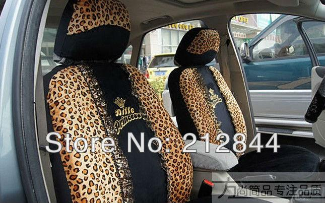Top Sale Fashion Leopard Print Car Seat Cover Set Universal Princess Four Seasons Girls Favorite Auto Covers Cheap Leather From