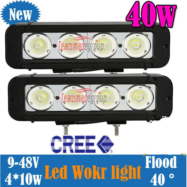 "2pcs 8"" 40W CREE LED Work Light Bar 4-LED(10W) Off-Road SUV ATV 4WD 4x4 Jeep Spot Flood Beam 3440lm IP67 Driving Truck Lamp Super Bright DHL"