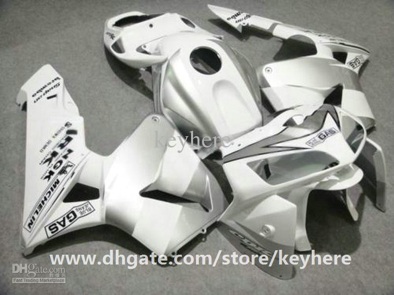 Kit de carenado de inyección gratuito 7 regalos para Honda CBR600RR 2005 2006 CBR 600RR 05 06 F5 carenados G4e alto grado pura motocicleta blanca trabajo del cuerpo