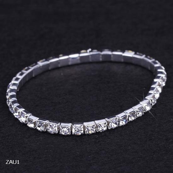 1-10 Rows Rhinestone Austria CZ Bracelets Crystal Wedding Bride Stretchy Bangle Wristband Jewelry Bracelet ZAU*10