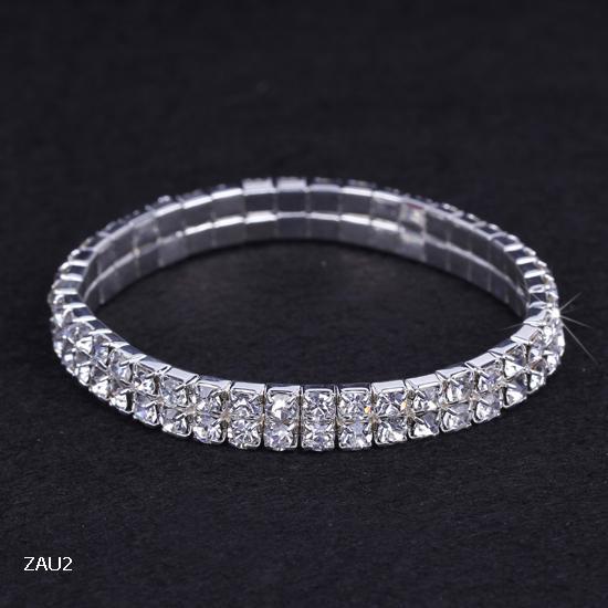 2 row Shiny Clear Rhinestone Stretch Elastic ZAU2*1 Bangle Bracelet Hand Band Wristband Party Wedding Engagement Bridal Jewelry Fashion Gift