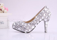 Wholesale Sparkle Diamond Prom Dresses - New Arrival Hand Design Unique Sparkling Crystal Diamond Wedding Bridal Dress Shoe High Heels Waterproof Sandal Party Prom Shoes Evening Sho