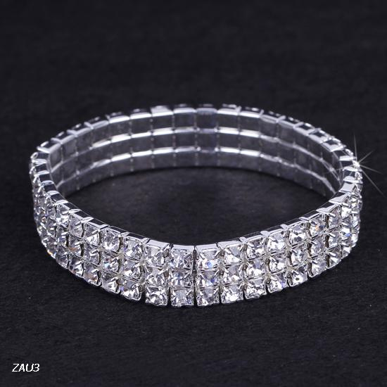 3 row ZAU3*1 Shiny Clear Rhinestone Stretch Elastic Bangle Bracelet Hand Band Wristband Party Wedding Engagement Bridal Jewelry Fashion Gift