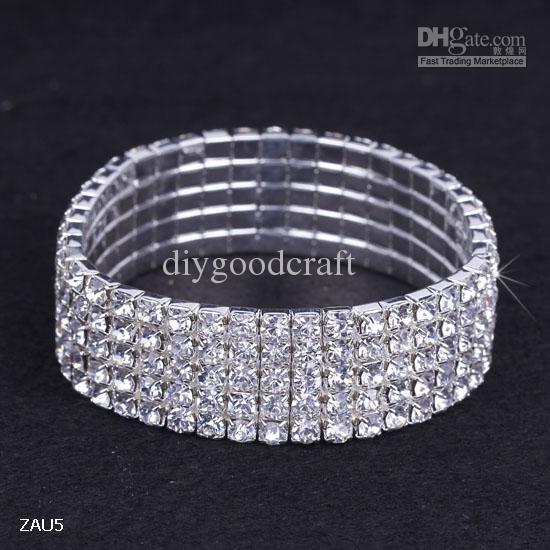 5 Rij Shiny Clear Rhinestone Elastische Bangle Armband Handband Polsband Party Bruiloft Engagement Bruids Sieraden Mode Gift ZAU5 * 10