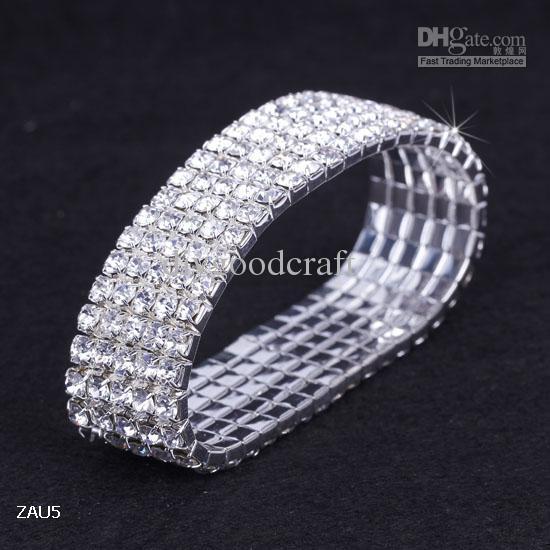 5 rangées brillant clair strass bracelet élastique bracelet main bande bracelet de fête de mariage fiançailles bijoux de mariée cadeau de mode ZAU5 * 10