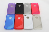 Wholesale Iphone 4s Tpu S Line - TPU CASE for iphone 4 4s S line case cover for iphone 4 4s colorful good quality in stock free ship100pcs lot