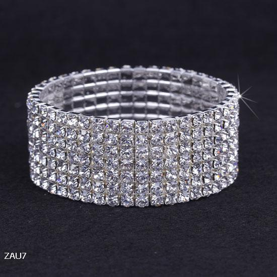 7Row Shiny Clear Rhinestone Stretch ZAU7*1 Elastic Bangle Bracelet Hand Band Wristband Party Wedding Engagement Bridal Jewelry Fashion Gift