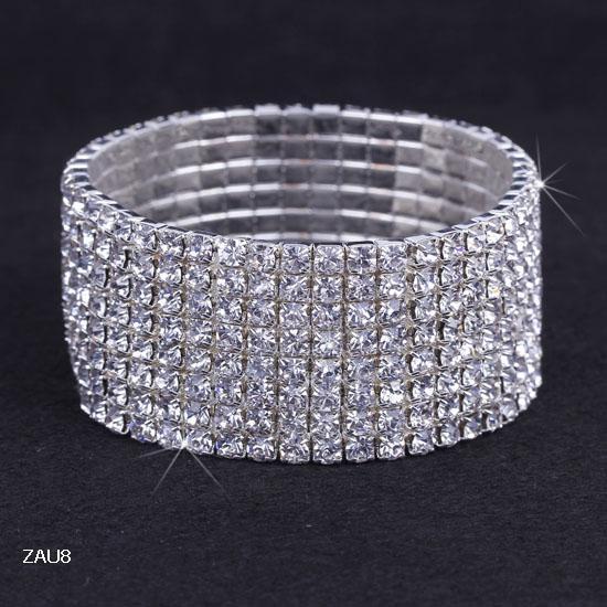 1-10行光沢のあるラインストーンの弾性のある女性のバングルストレッチクリスタルバングルブレスレットフィットパーティープロムの結婚式の花嫁のジュエリーギフトさまざまな選択ZAU * 5
