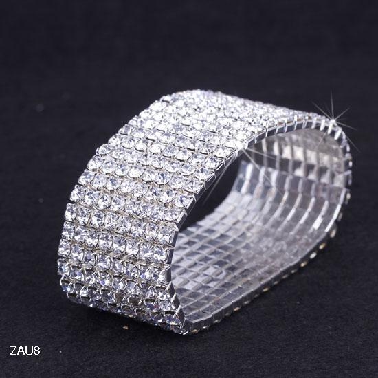 8 linha Brilhante ZAU8 * 1 Limpar Strass Elastic Pulseira Elastic Pulseira Banda de Mão Pulseira de Noivado Do Casamento Do Partido Nupcial Jóias Moda Presente