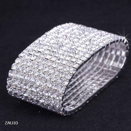 10 Row Glänsande Rhinestone Elastiska Kvinnor Bangle Stretch Crystal Bangle Armband Fit Party Prom Bröllop Förlovning Bridal Smycken Present ZAU10 * 5