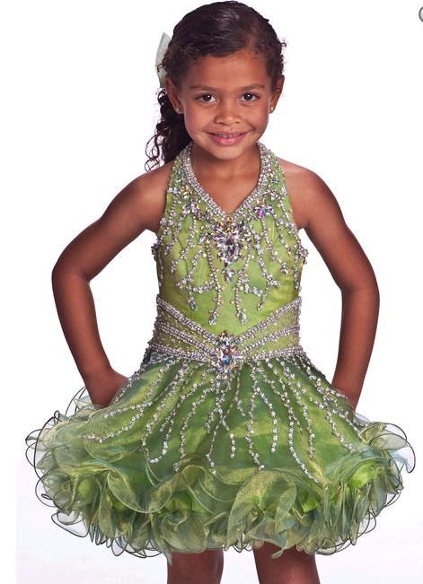 Hermosa flor infantil desgaste borde corto falda niña vestido del desfile perlas de cristal colgando cuello flor ropa para niños personalización