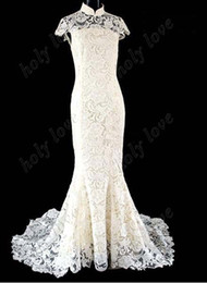 Wholesale High Collar Cheongsam - Best Design!!2013 white Exquisite Luxurious high collar lace cheongsam Back hollow out Organza Custom Made wedding dresses
