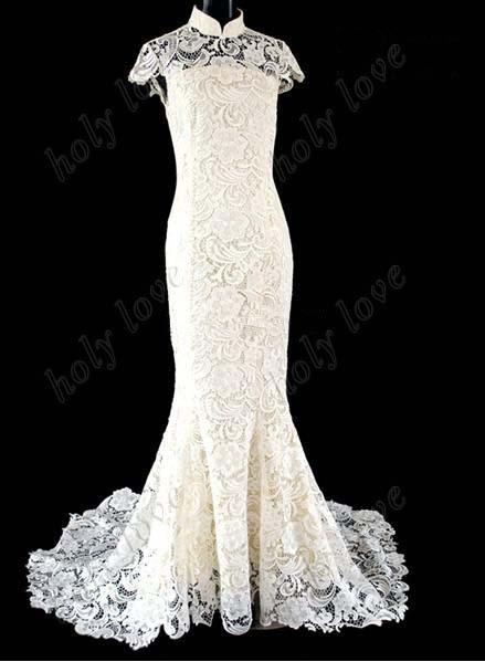Best Design!!2013 white Exquisite Luxurious high collar lace cheongsam Back hollow out Organza Custom Made wedding dresses