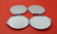 Wholesale Compact Mirror Silver Round - 10Pcs Circle 70MM Compact mirror DIY Portable Metal cosmetic makeup mirror silver color -free shipping
