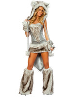 Wholesale Sexy Furry Animals Costumes - Cosplay Wolf Animal Sexy Costumes For Women Wolf Costume Gray Plus Size Furry Uniforms Outfits H39102G