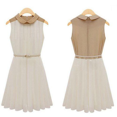 24dbb87673 Hot Fashion ladies midi dress elegant women's chiffon party dress summer  sleeveless pleated skirt with belt women's clothes