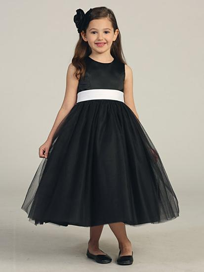 Black Tulle Girls Flower Pageant Dresses Flower Girl Dress Bowknot ...