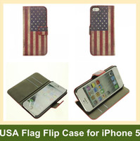 Wholesale Cool Iphone Flip Cases - Wholesale Cool USA National Flag Wallet Case for iPhone 5 Folding Leather Flip Cover Case for Apple iPhone 5 Free Shipping