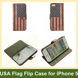 Wholesale Iphone Usa Flag Case - Wholesale Cool USA National Flag Wallet Case for iPhone 5 Folding Leather Flip Cover Case for Apple iPhone 5 Free Shipping