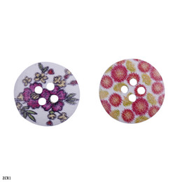 Wholesale Colorful Sewing Buttons - Free shipping Colorful Flower Printed Wooden Buttons beads Wood Round Fit Clothes Accessories Sewing or craft Scrapbooking ZCR1