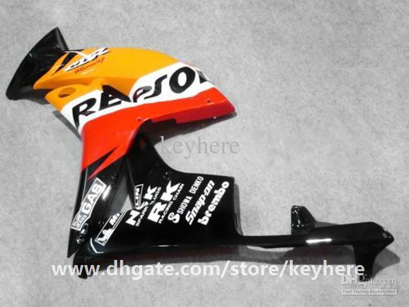 Kit carena iniezione 7 regali Honda CBR-600RR 2007 2008 CBR600RR 07 08 Carene F5 G6e REPSOL carrozzeria arancione nero carrozzeria