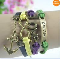 Wholesale Anchor Bracelet Velvet - 30%off 16pcs Retro ( Love + infinity + anchor + dream+ Velvet Leather)  bracelet charm bracelet bracelets cheap hot women men