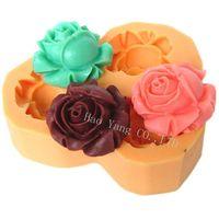 moldes 3d gratis al por mayor-Envío gratis 3D Rose flor de silicona jabón moldes molde para jabón vela caramelo molde de silicona