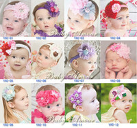 Wholesale Baby Flower Headband Diamond - babyamour Newborn baby girl kids toddler lace flower diamond headband hair band hair scarf infant headwear hair decorations jewelry
