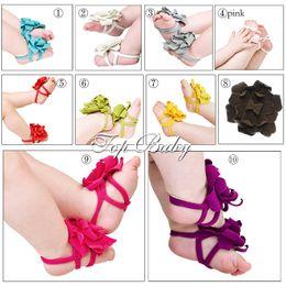 Wholesale Top Foot Sandals - New arrival TOP BABY Sandals baby Barefoot Sandals Foot Flower Foot Ties Toddler Shoes 10pcs pair
